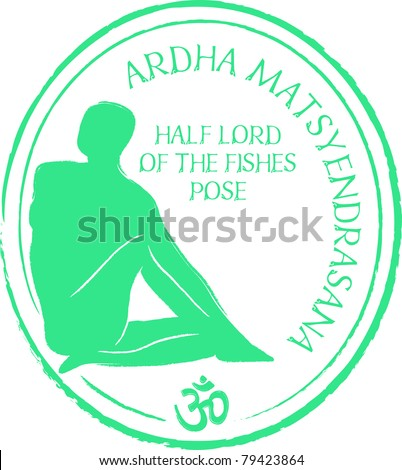 Retro Ardha Matsyendrasana Yoga Half Lord of the Fishes Pose in Passport Stamp Style Vector Illustration