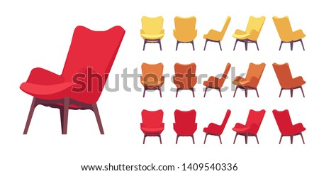 Retro armchair set. Soft upholstery chair, comfortable seat, lobby, lounge room, living, bedroom furniture. Vector flat style cartoon illustration isolated on white background, different views, color ストックフォト ©