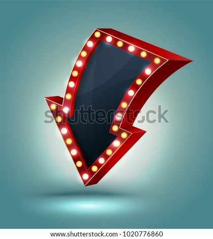 Retro arrow with glowing lights. volume frame. Realistic scalable with 3d volumetric icon on light bulb. Empty space for text. Winter promotions, discounts and offers for business. Vector illustration