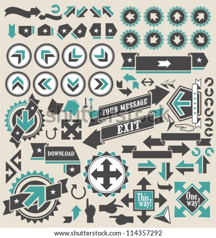 Retro arrows icon set
