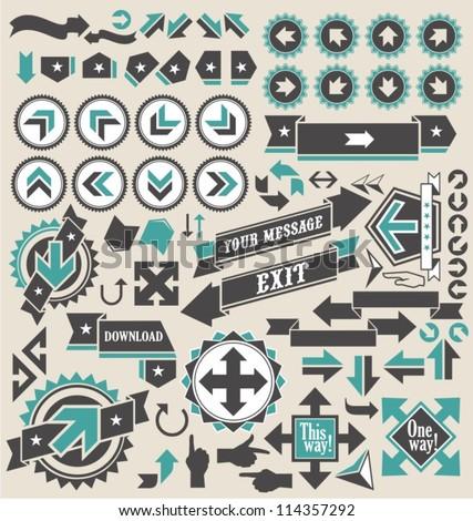 Retro arrows icon set