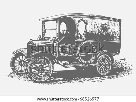 retro automobile, graffiti style, vector illustration - stock vector