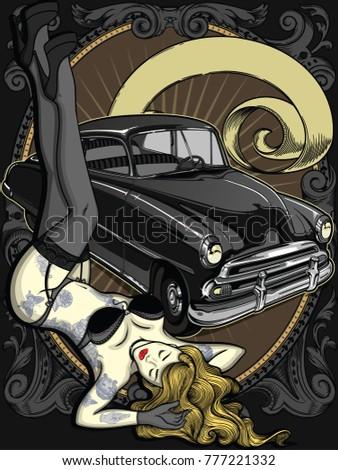 retro automobile with vintage