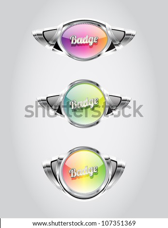 Retro automotive styled glass metallic badges collection