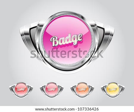 Retro automotive styled metallic glassy badges collection