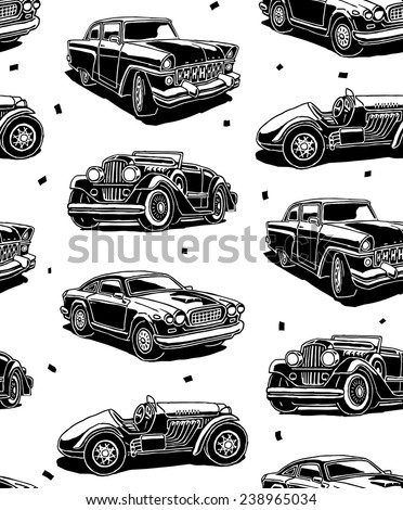 retro autos seamless vector...