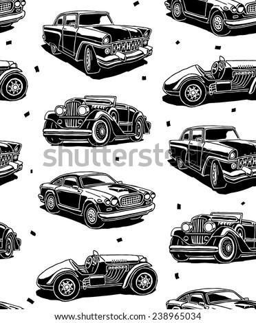 retro autos seamless vector...