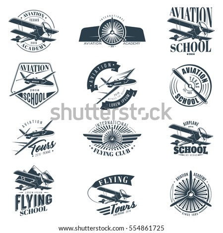 retro aviation set of