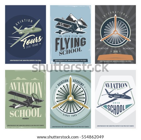 retro aviation set of 6 posters