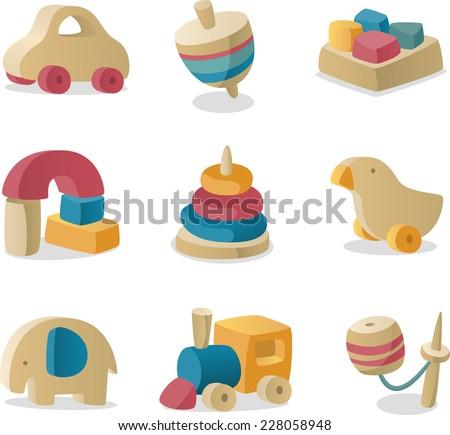 retro baby wood toys icon