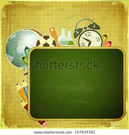 Retro back to school Design - School Board and School Supplies on vintage background - vector illustration