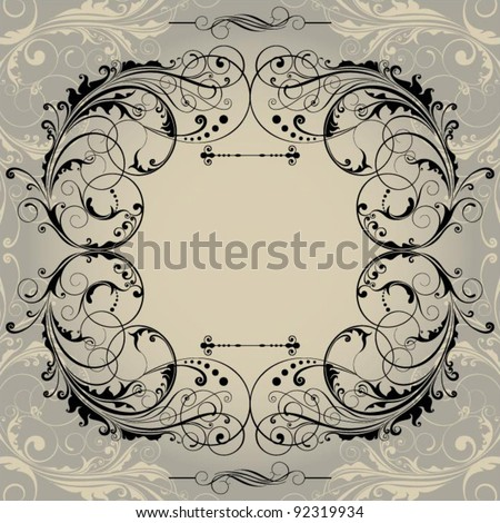 Retro background frame.Set of retro frame with floral gradient background.File contain Clipping path.