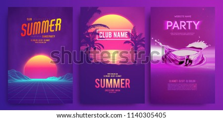 Retro background futuristic landscape 1980s style. Cocktail party, Electronic music fest, electro summer poster. Abstract gradients music background. EPS 10 Vector illustration. Vibrant design.