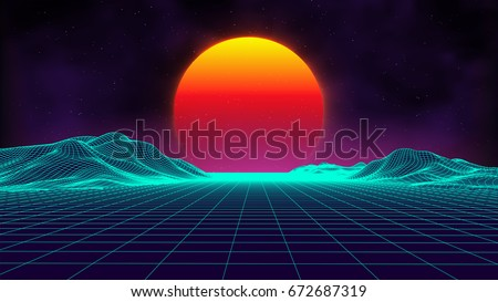 Retro background futuristic landscape 1980s style. Digital retro landscape cyber surface. 80s party background . Retro 80s fashion Sci-Fi Background Summer Landscape. - Shutterstock ID 672687319