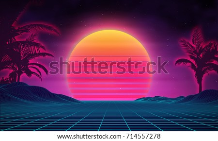 Retro background futuristic landscape 1980s style. Digital retro landscape cyber surface. 80s party background . Retro 80s fashion Sci-Fi Background Summer Landscape.