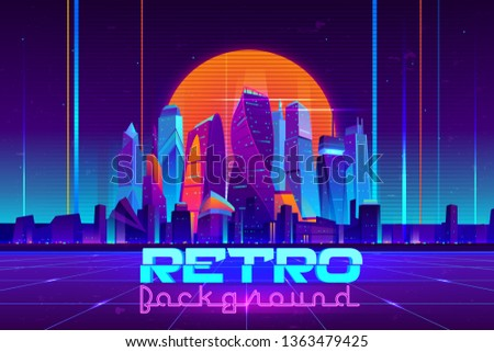 Retro background in neon colors cartoon vector with illuminated future city skyscrapers buildings, digital Utopia metropolis downtown illustration. Cyberpunk, vaporwave music party banner template