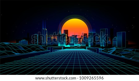 Retro background  landscape 1980s style.  Retro 80s Sci-Fi background city Landscape.Futuristic background retro wave. - Shutterstock ID 1009265596