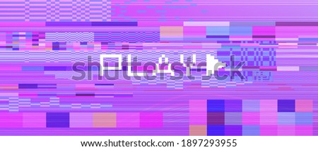 Retro background like in old video tape rewind or no signal TV screen. Back to the 80's-90's style. Stockfoto ©