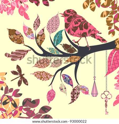 retro background of tree branch