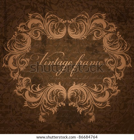 Retro background with antique floral frame