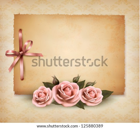 Retro background with beautiful pink rose and old paper. Vector illustration.