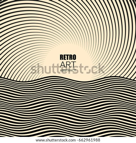 Retro Background with Fanning Spiral Twirl Rays and wave. Vector abstract background for advertisements, banners, posters. Vector design element