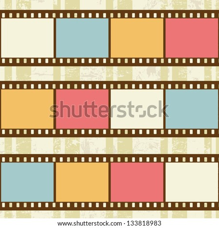Retro background with film strips on grunge background, vector illustration