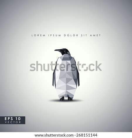 retro background with penguin