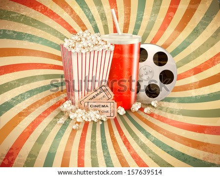 retro background with popcorn