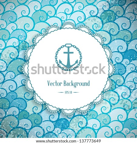 Retro background with sea waves and frame. Vector illustration.