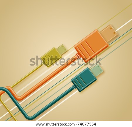 Retro background with USB cable, vector illustration