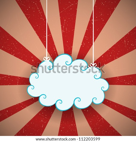 Retro background with vintage cloud. Vector illustration