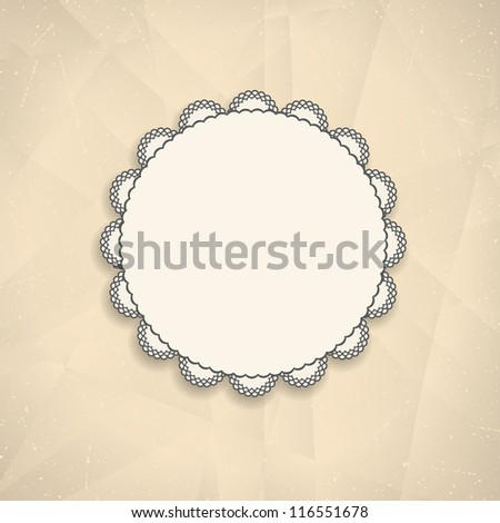 Retro background with vintage frame on crumpled paper. Vector illustration