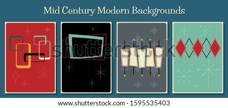 Retro Backgrounds, Advertisement, Event Poster Templates, 1950s, 1960s Style, Mid Century Modern Shapes and Colors Stock photo ©
