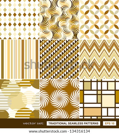 Retro backgrounds set, cream and beige, seamless patterns, geometric fabrics for decoration and design