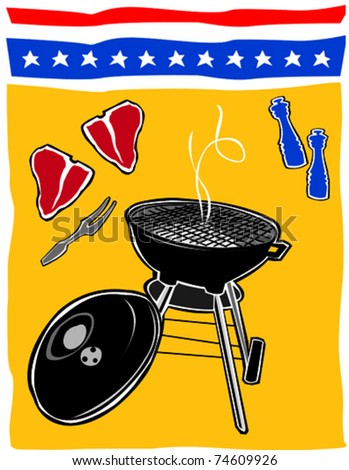 Retro Backyard BBQ Summertime Fourth of July Food & Fun Series Vector Illustration