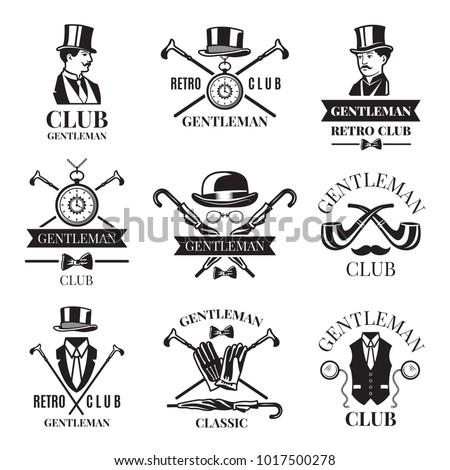 Retro badges or labels set for gentleman club. Logos design template with place for your text. Gentleman logo club, label vintage emblem elegant and fashion. Vector illustration