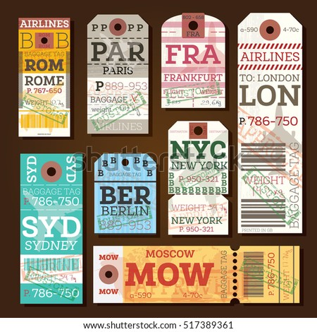 Retro Baggage Tags. Vector Illustration. Luggage Label from Rome, Paris, Frankfurt, London, Sydney, Berlin, Moscow and New York