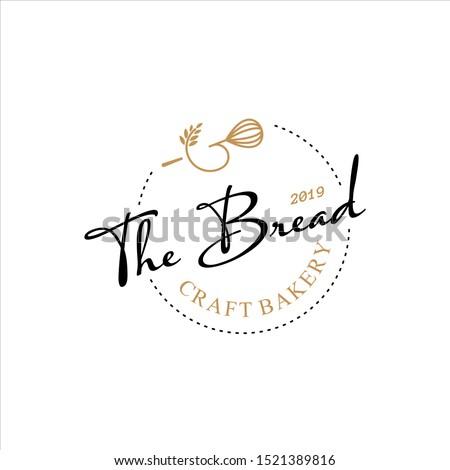 Retro Bakery Logo Design Bake and Cake Pastry Simple Homemade Badge Template Stockfoto ©