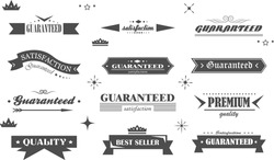 Retro Banner And Ribbon Design Elements. Retro Banners And Labels In Vintage Style Isolated On White Background. Vector Set For Ribbon Logo, Label, Banner And Sticker. Icons for Badge, Stamp And Seal