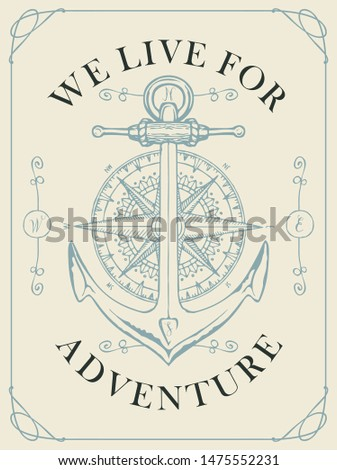 Retro banner with a ship anchor, wind rose and old nautical compass. Vector illustration on the theme of travel, adventure and discovery on the white background