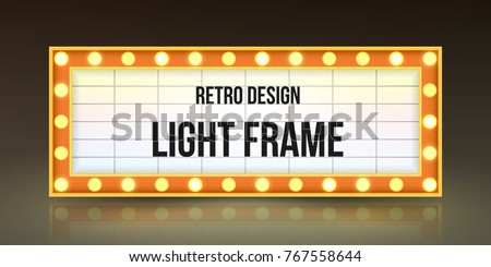 Retro banner with bulbs for your projects. Light banner, vintage billboard or bright signboard. Cinema or theatre lightbox frame for ads. Light sign in bright design. Modern vector illustration.