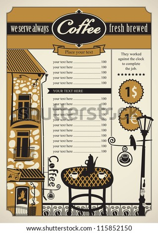 Retro banner with outdoor cafes and table