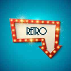 Retro banner with shining lights. Vector illustration.