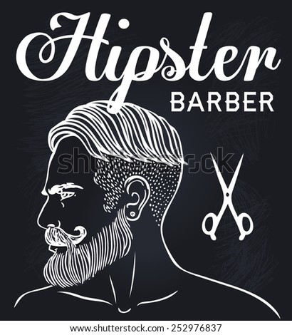 Retro Barber Shop Vintage Template Vector chalk illustration with man's profile on a blackboard