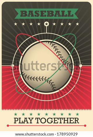 retro baseball poster design
