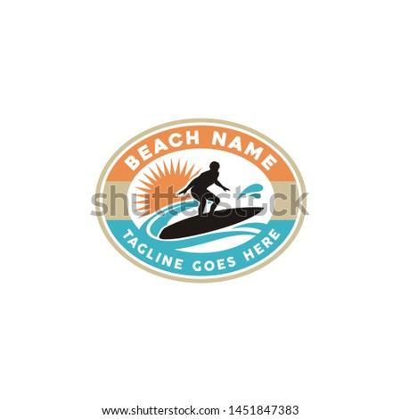 Retro Beach Stamp Logo design with Surfer Silhouette