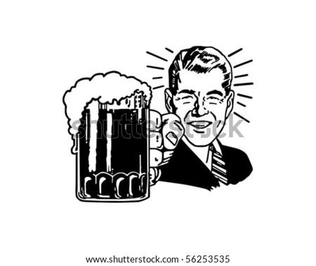 Retro Beer Guy - Clip Art