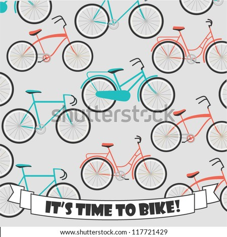 Retro bicycle background - stock vector