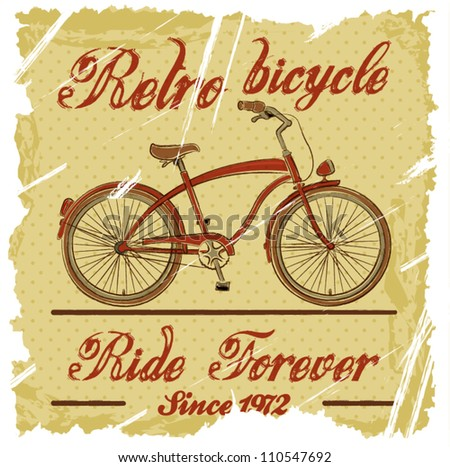 Retro bicycle isolated on vintage paper. Vector illustration.